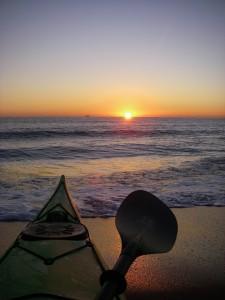 Virginia Beach sea kayak sunrise over the surf