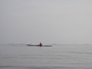 Sea kayak surfing Tybee Island